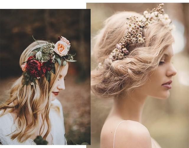 Penteados com flores para noivas